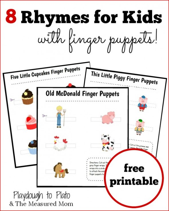 8 Rhymes Kids Finger Puppets on Abc For Preschoolers Worksheets