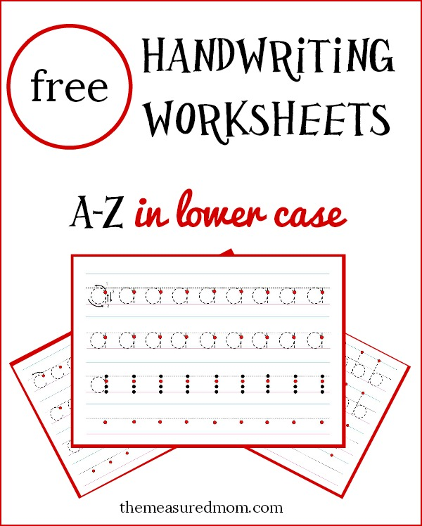 Free lowercase handwriting worksheets on four lines! - The Measured ...