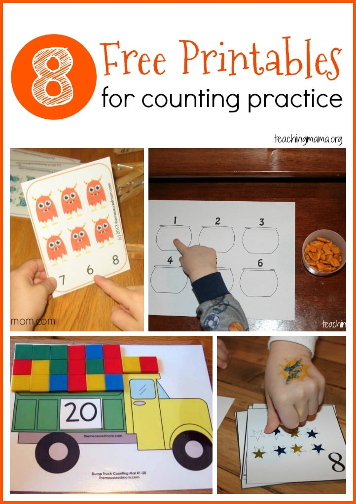 8 free printables for counting practice