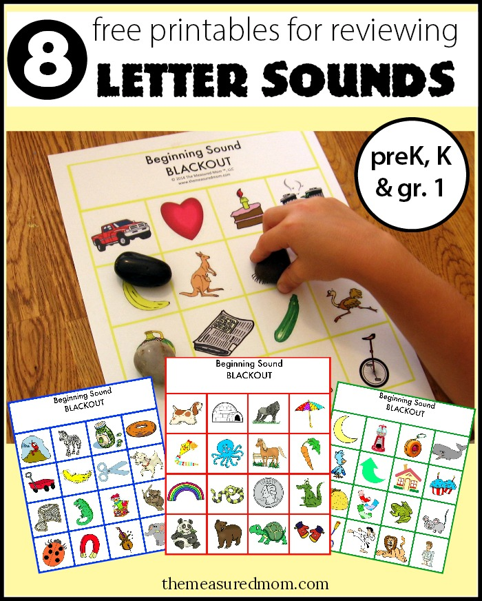 Review letter sounds with Beginning Sound Blackout (8 free boards!)
