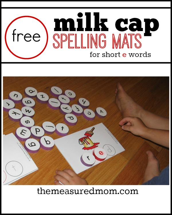 Learn to read and spell short e words with milk cap spelling mats ...