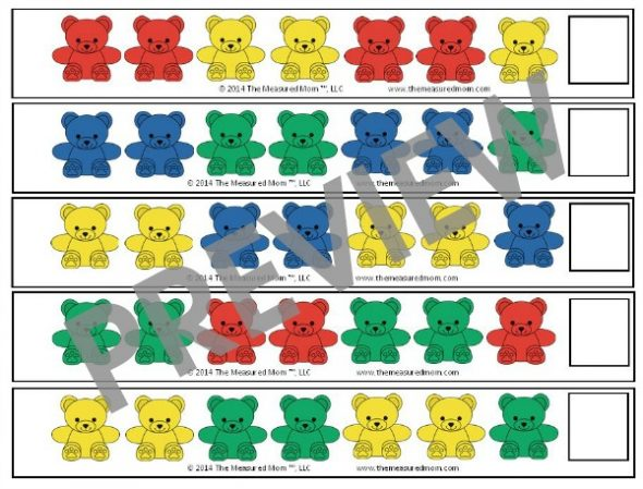free bear counter pattern strips for preschoolers the measured mom