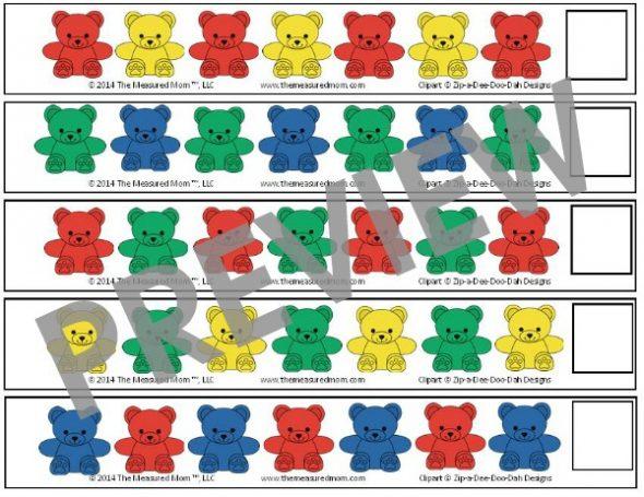 Get 25 FREE bear counter pattern strips for preschoolers!