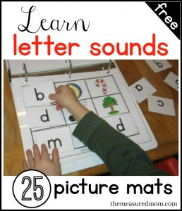 letter sound match mats - the measured mom