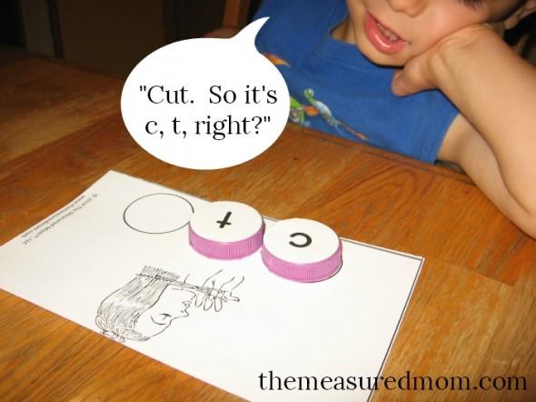 milk cap letters - spelling 1