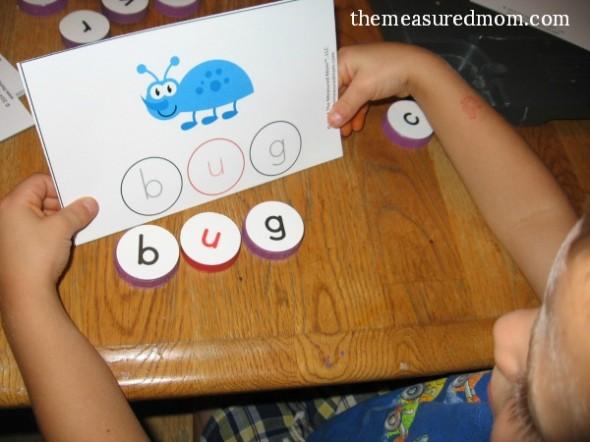 milk cap letters - spelling 3