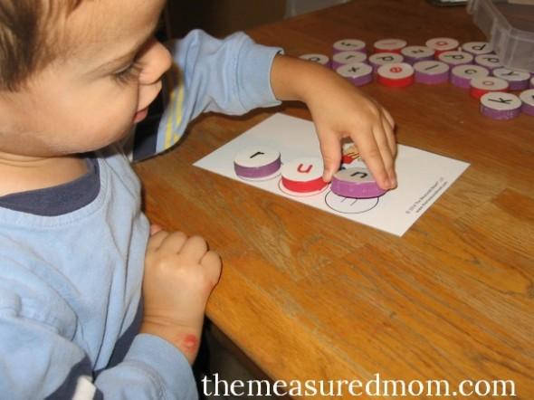 milk cap letters - spelling 5