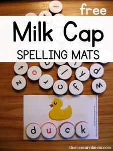milk cap spelling mats short u