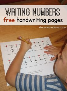 number handwriting pages - level 2