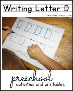 writing letter D - activities and printables
