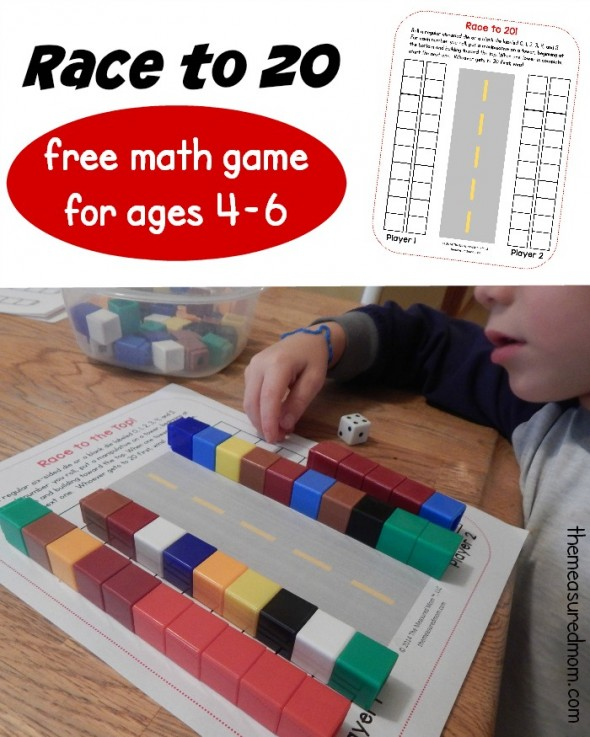 Print a free Race to 20 math game for preschool, kindergarten, or first grade. It also comes as a Race to 10 or Race to 30!