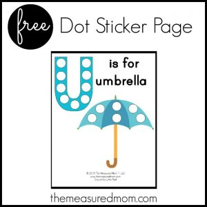 letter U dot sticker page
