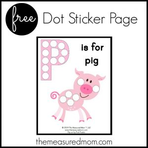 p is for pig sticker page