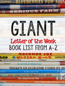 giant letter of the week book list from A-Z