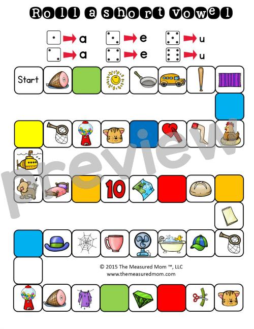 Short Vowels Sounds Games Sampe Short Vowel Game With 3