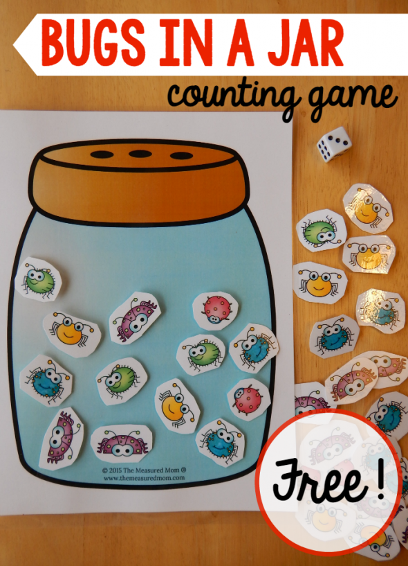 A Math Game For A Preschool Insect Theme on Bug Jar Math Printables