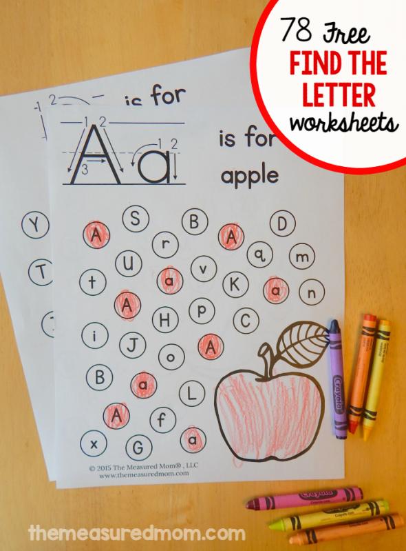 Free Find The Letter Alphabet Worksheets The Measured Mom