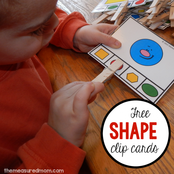 Teaching shapes in preschool? Print these 16 FREE clip cards for a great shapes activity!