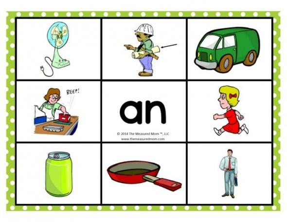 Short Vowel Word Family Mats on Math Mats