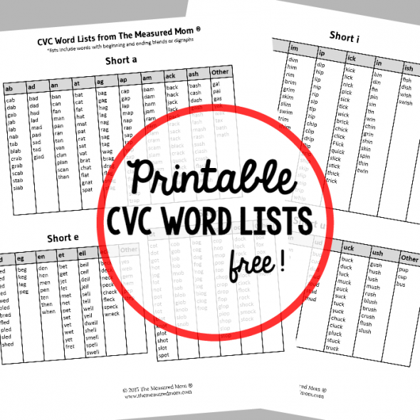 Lo Ng For Cvc Words Print This Free Cvc Word List For Easy Reference