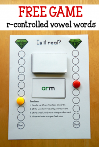 free game for teaching r controlled vowel words