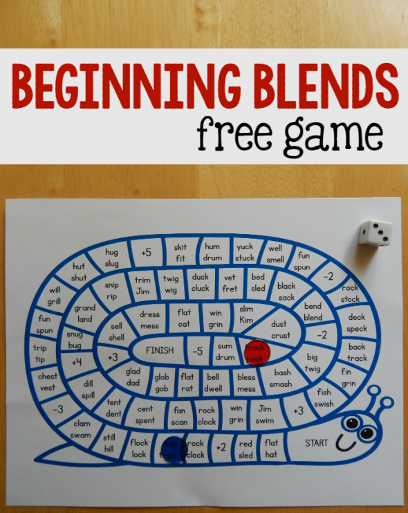 Print this free beginning blends game for kindergarten or first grade!