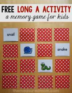 free long a activity a memory game for kids