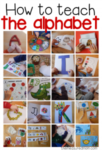 How to teach the alphabet collage image