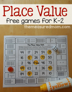 Free place value games for K-2