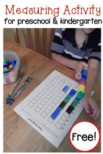 Free measuring activity for preschool and kindergarten