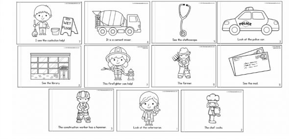 Community helpers coloring pages nursery