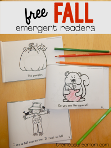 Free Fall emergent readers that kids can color