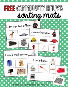 free community helper sorting mats