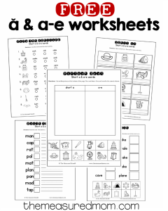 free short a and a-e worksheets
