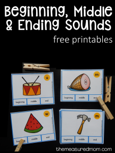 Free beginning, middle, and ending sound clip cards
