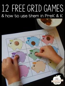 12 Free math grid games for preschool & kindergarten