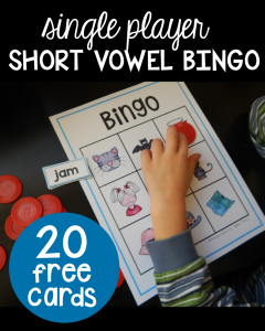 Short vowel bingo with pictures – for single players!