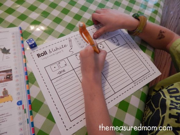 Kids enjoy practicing their spelling words with these simple roll & write games for long vowel words.