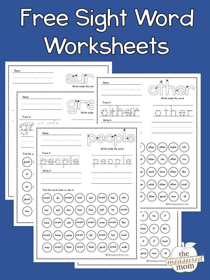 free sight word worksheets