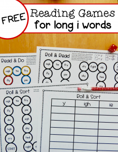 Free long i reading games for y, ie, and igh words
