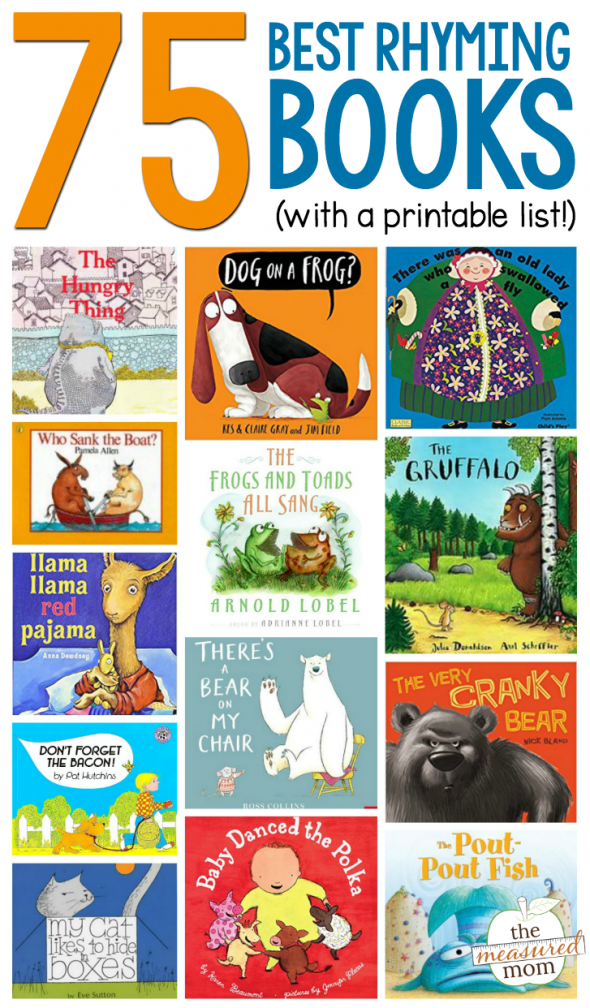 An image promoting a list of rhyming books