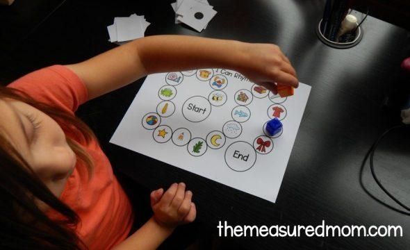 Child playing rhyming game