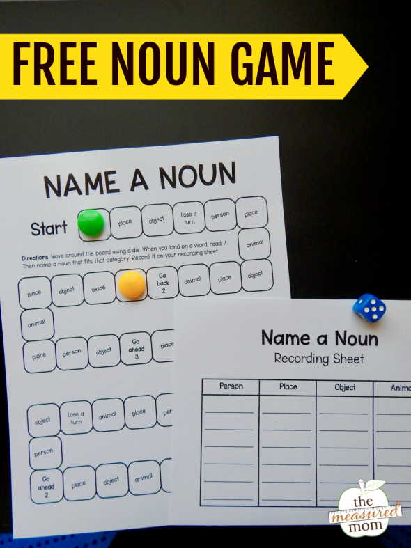 Teach your students to write different types of nouns with this free noun game!