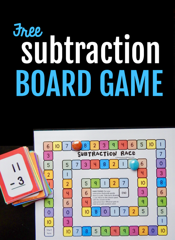 image promoting a free subtraction board game