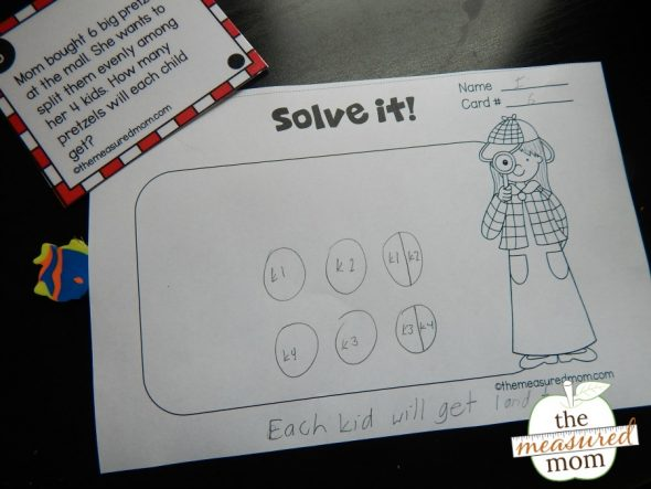Grab a free set of 18 equal sharing math task cards - in three different levels!
