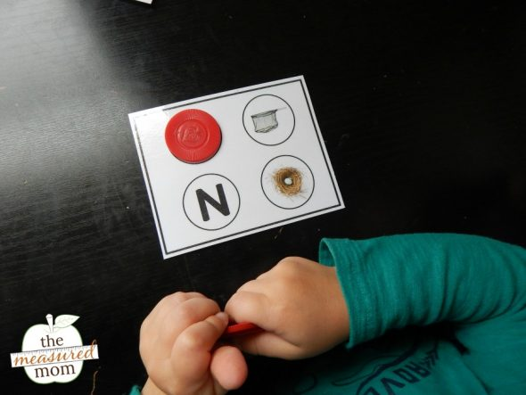 child using letter card