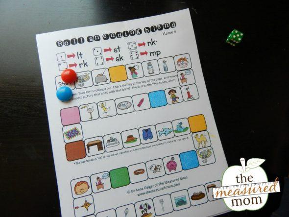 Game for teaching ending blends