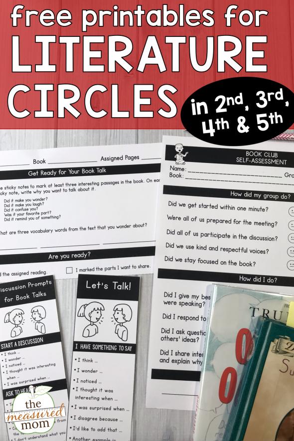 free printables for literature circles grades 2-5